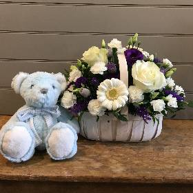 Blue & White Trug With Blue Bear