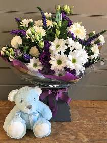 Blue and White Hand tied with Blue Bear
