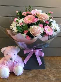 Pink and White Hand tied with Pink Teddy