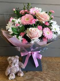 Pink and White Hand tied with Taupe Teddy